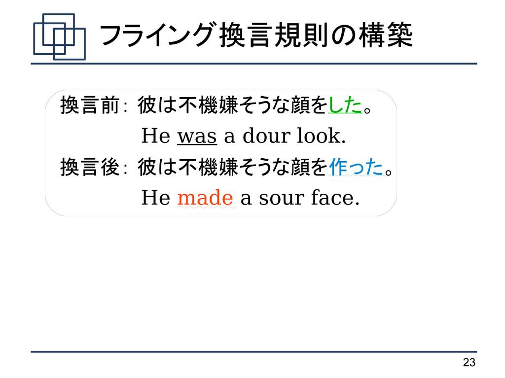 23 フライング換言規則の構築 換言前: 彼は不機嫌そうな顔をした。   He was a d...