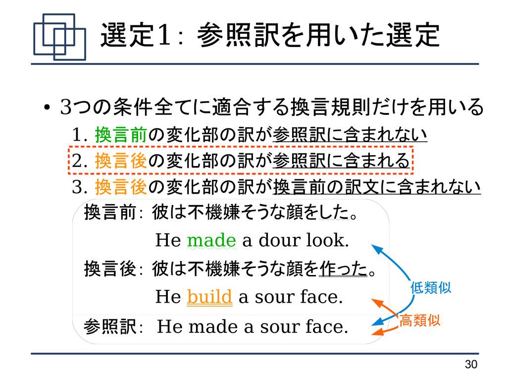 30 ● 3つの条件全てに適合する換言規則だけを用いる  1. 換言前の変化部の訳が参照訳に含...
