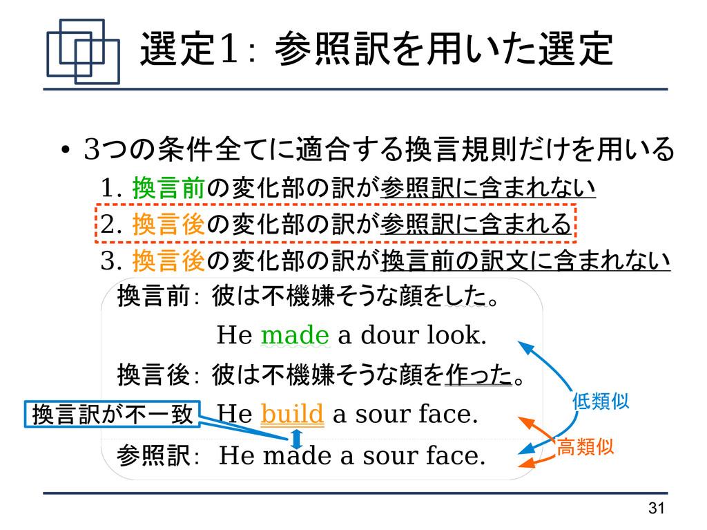 31 ● 3つの条件全てに適合する換言規則だけを用いる  1. 換言前の変化部の訳が参照訳に含...
