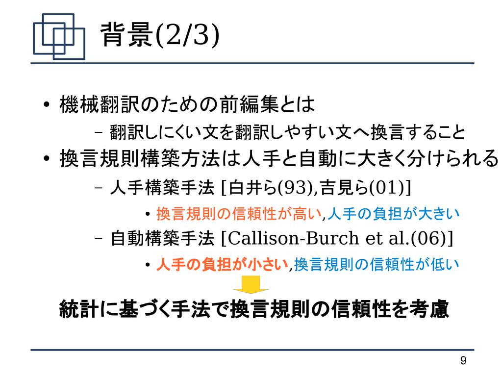 9 背景(2/3) ● 機械翻訳のための前編集とは – 翻訳しにくい文を翻訳しやすい文へ換言す...