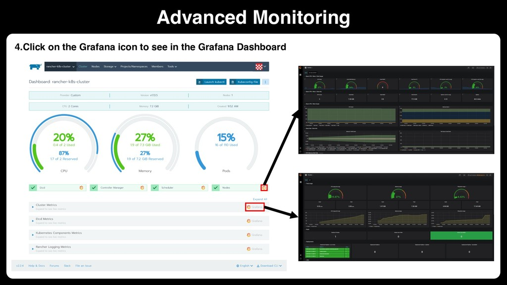 4.Click on the Grafana icon to see in the Grafa...