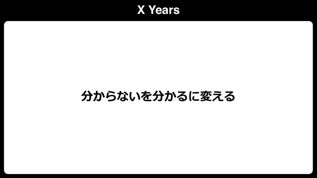 X Years 分からないを分かるに変える