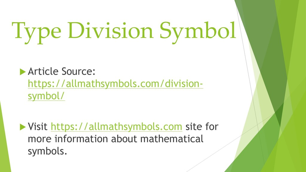 Type Division Symbol  Article Source: https://...