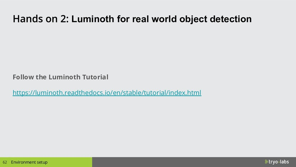 Luminoth for real world object detection Enviro...