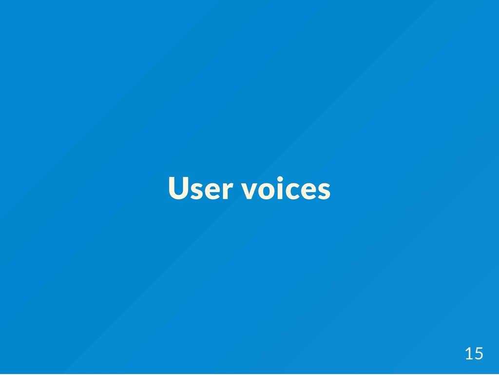User voices 15