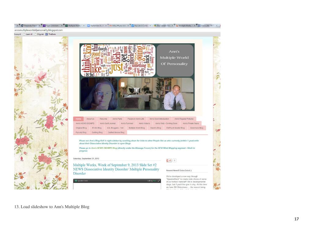 17 13. Load slideshow to Ann's Multiple Blog