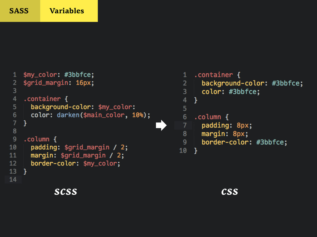 SASS Variables scss  css