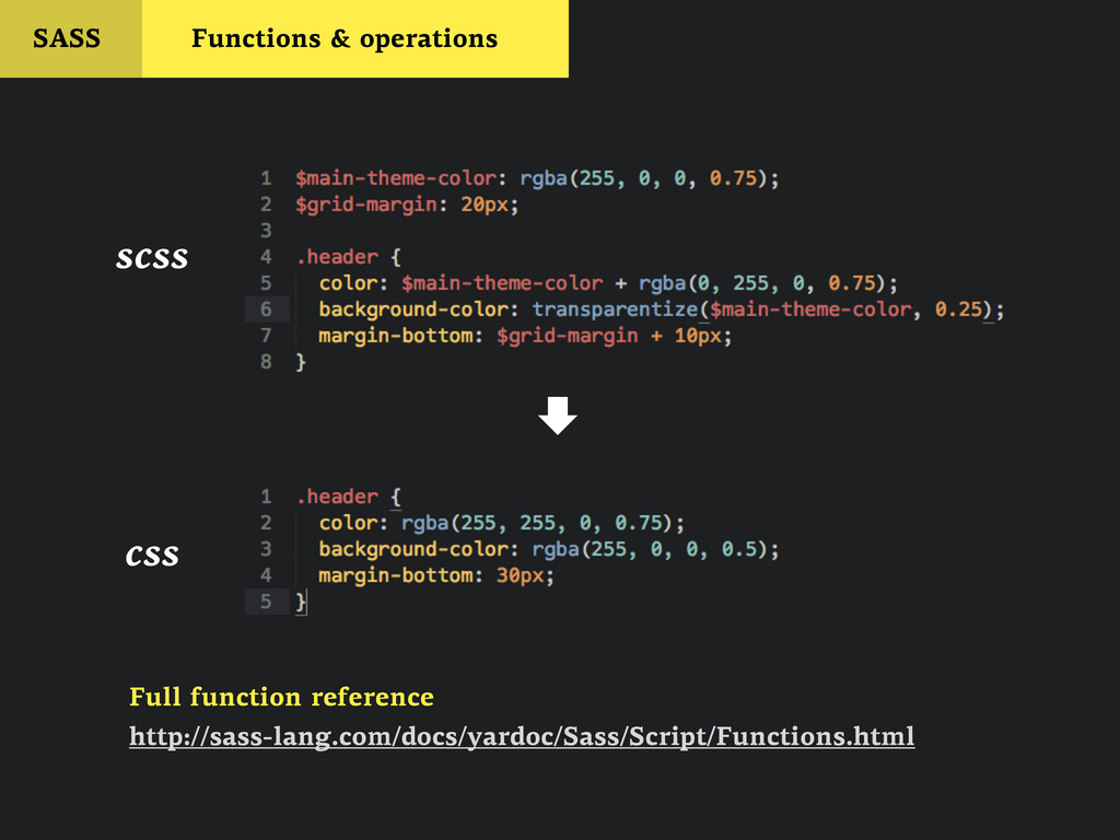 SASS Functions & operations scss  css http://s...
