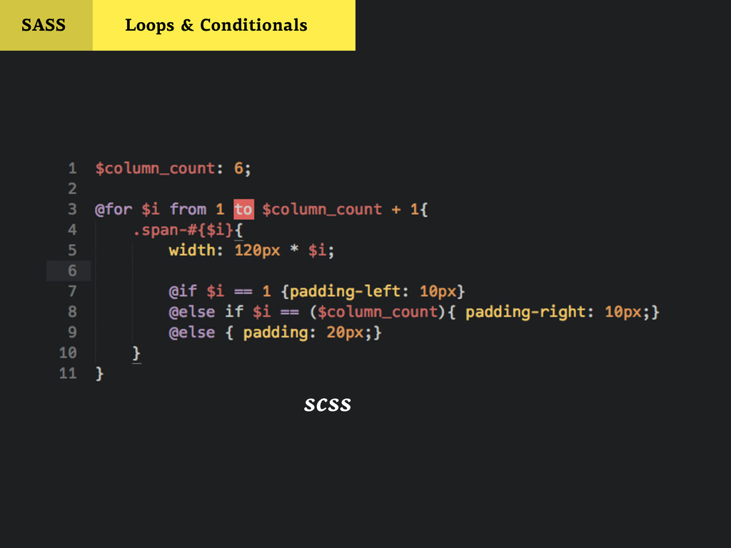 SASS Loops & Conditionals scss