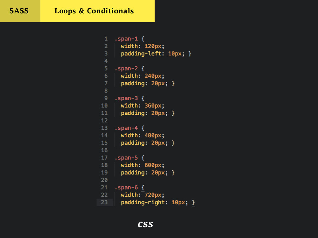 css SASS Loops & Conditionals