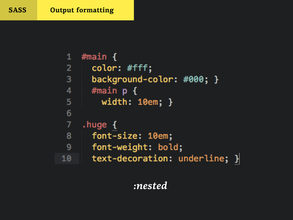 SASS Output formatting :nested