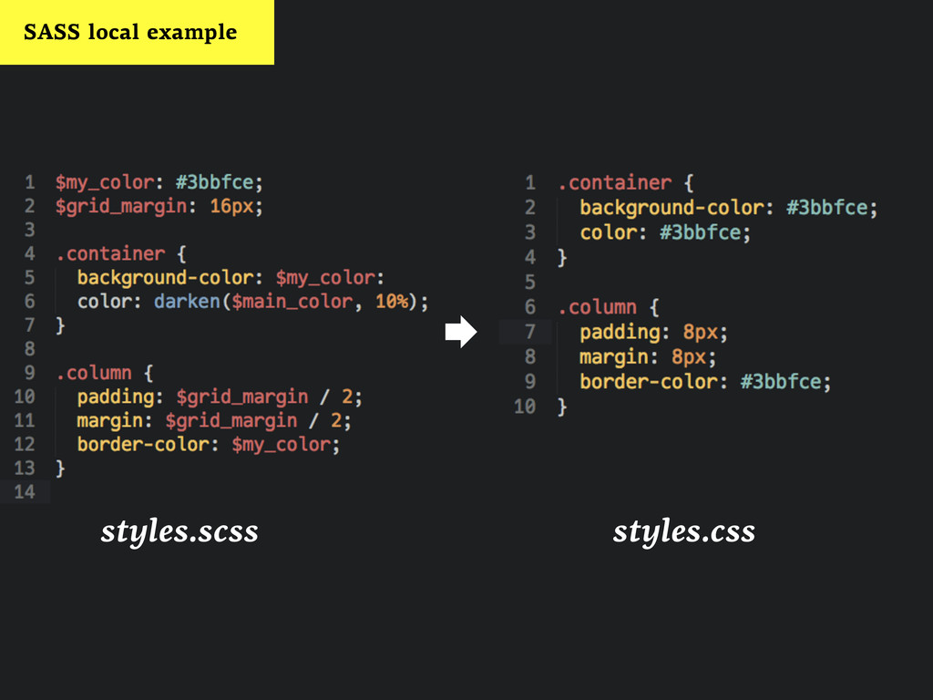 styles.scss  styles.css SASS local example