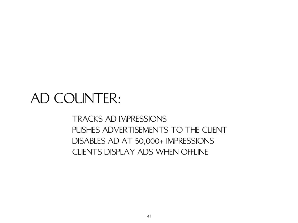 AD COUNTER: TRACKS AD IMPRESSIONS PUSHES ADVERT...