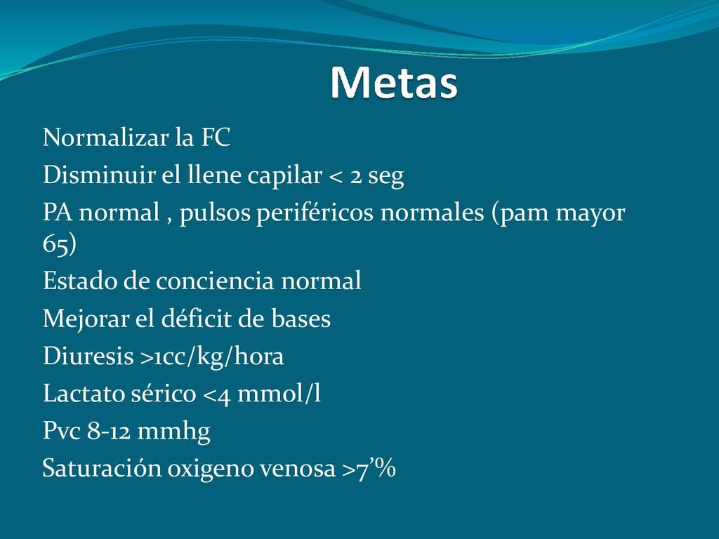 Normalizar la FC Disminuir el llene capilar < 2...