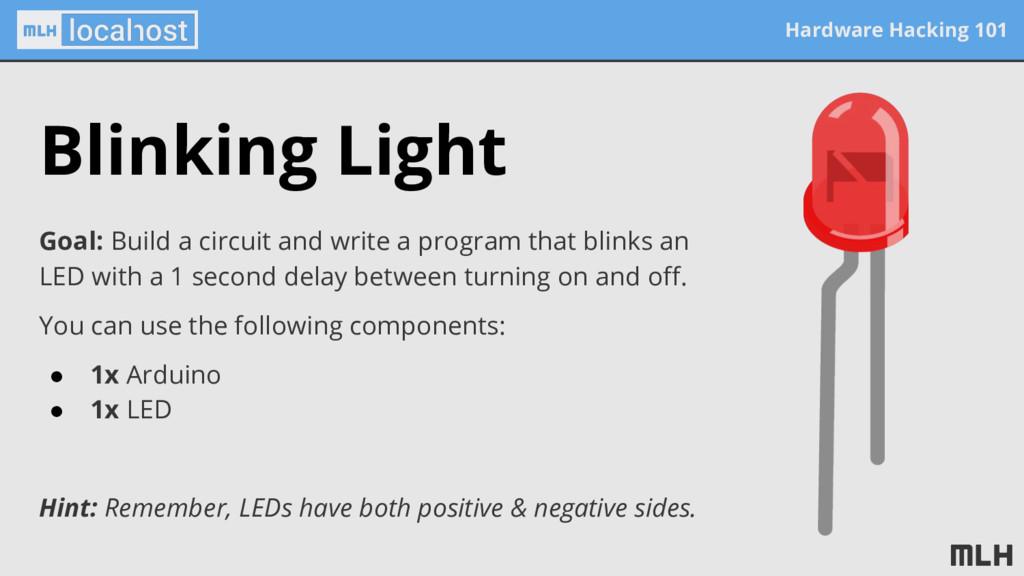 Hardware Hacking 101 Blinking Light Goal: Build...