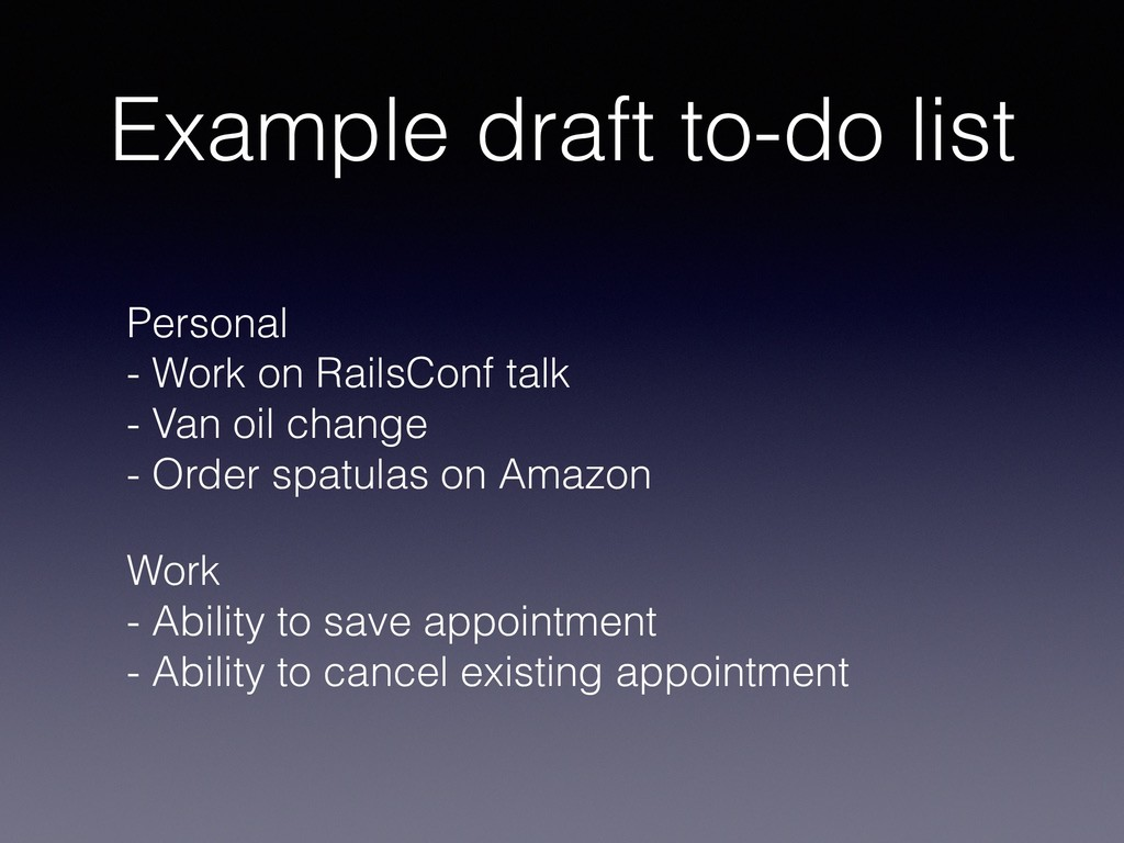 Example draft to-do list Personal - Work on Ra...