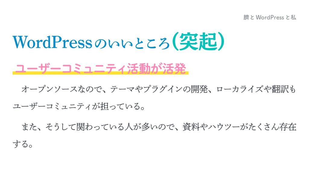 臍とWordPressと私 WordPressのいいところ (突起) ユーザーコミュニティ活動...
