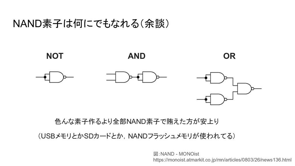 NAND素子は何にでもなれる(余談) NOT AND OR 図:NAND - MONOist ...