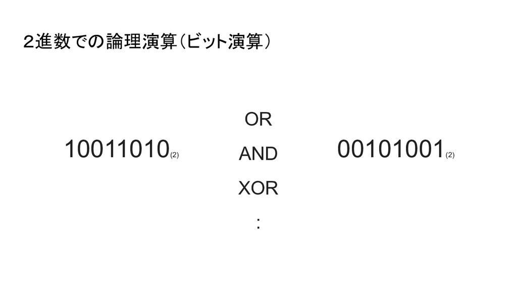 2進数での論理演算(ビット演算) 10011010 (2) 00101001 (2) OR A...
