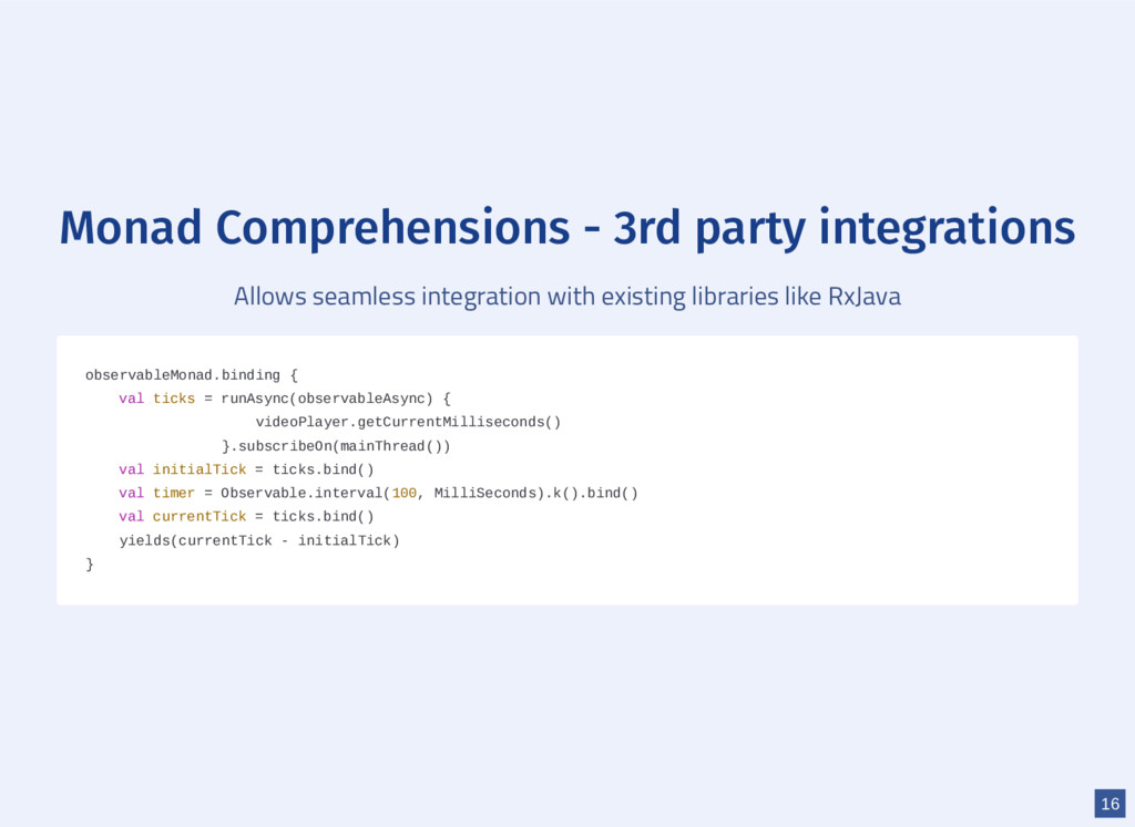 Monad Comprehensions - 3rd party integrations A...
