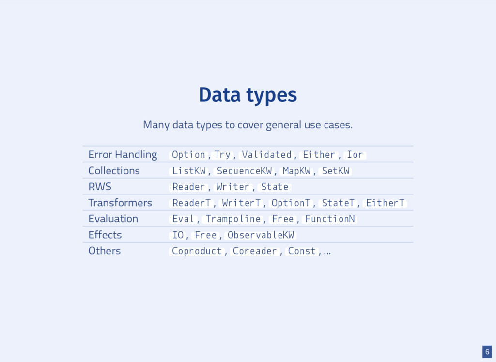 Data types Many data types to cover general use...