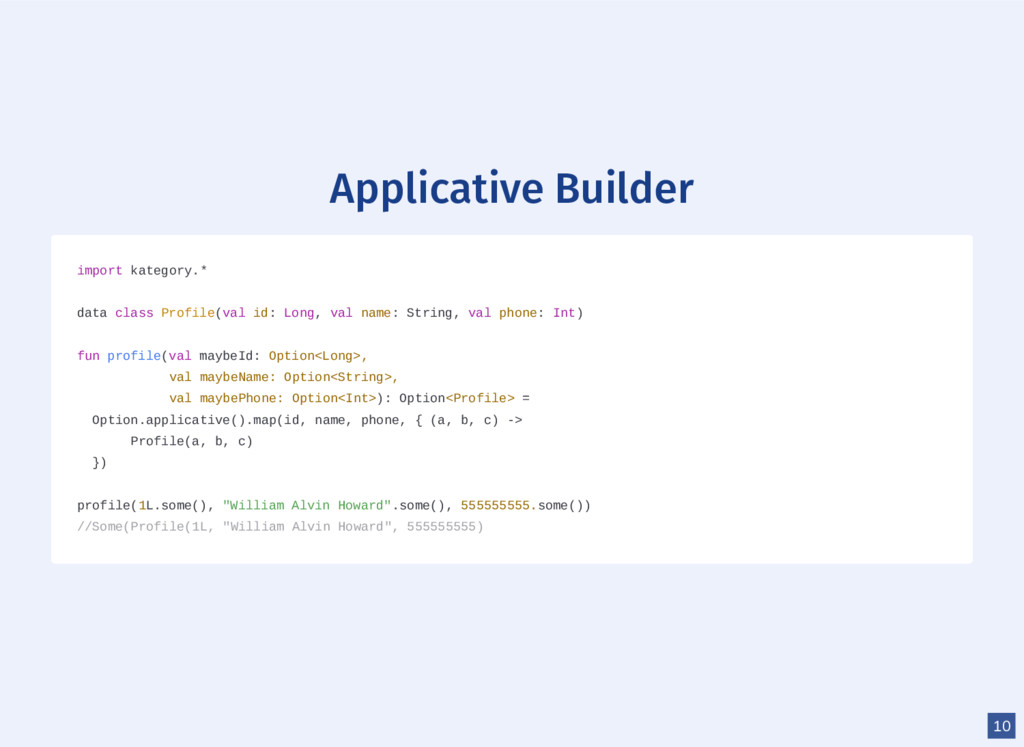 Applicative Builder import kategory.* data clas...