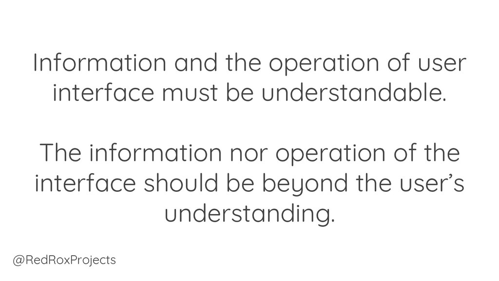 Information and the operation of user interface...