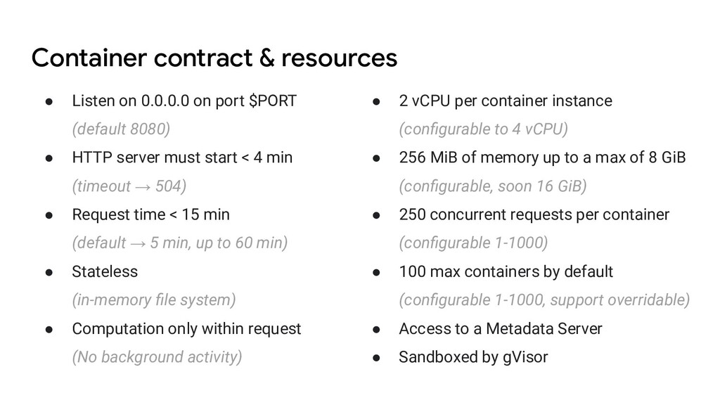 Container contract & resources ● Listen on 0.0....