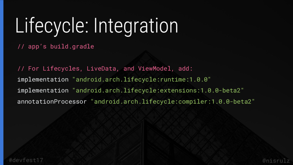// app's build.gradle // For Lifecycles, LiveDa...