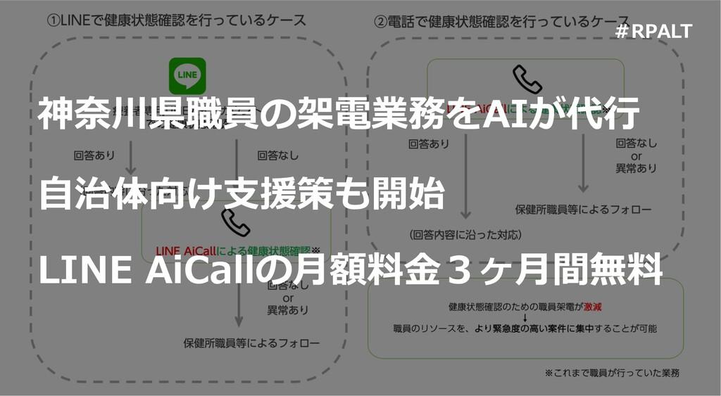 神奈川県職員の架電業務をAIが代⾏ LINE AiCallの⽉額料⾦3ヶ⽉間無料 ⾃治体向け⽀...