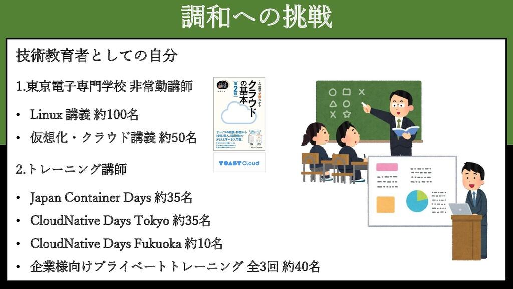 調和への挑戦 技術教育者としての自分 1.東京電子専門学校 非常勤講師 2.トレーニング講師 ...