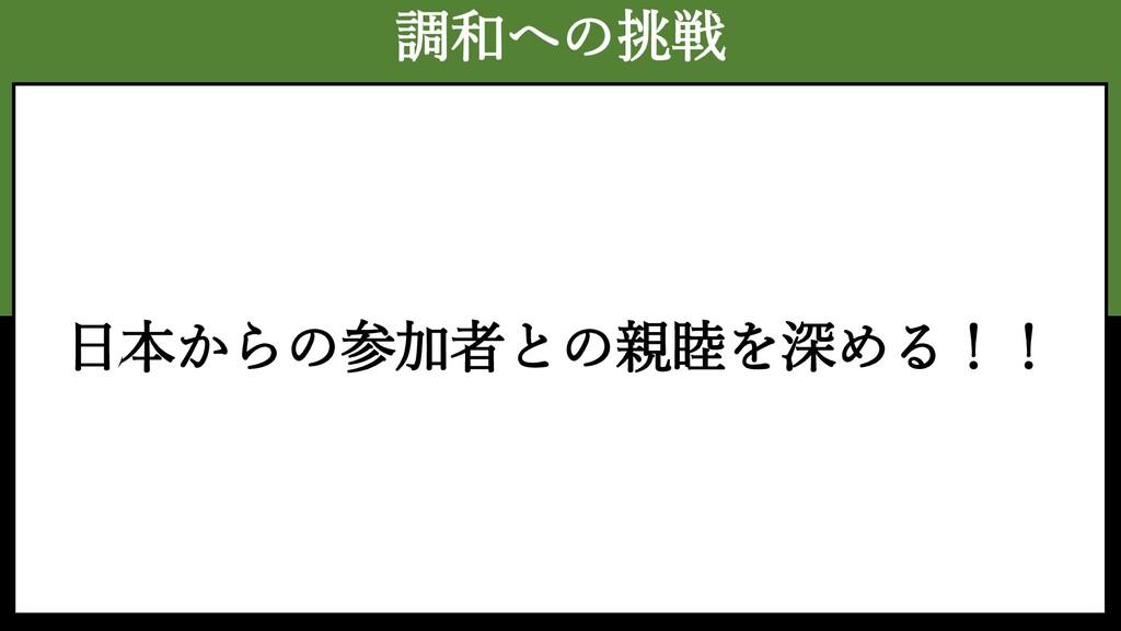 調和への挑戦 日本からの参加者との親睦を深める!!
