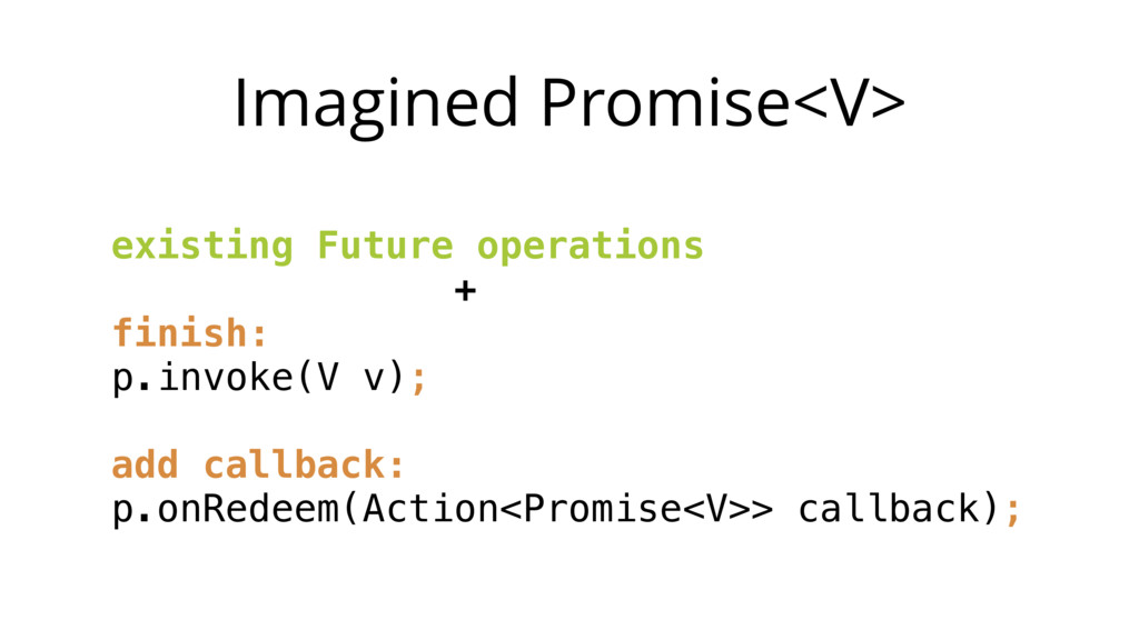 Imagined Promise<V> existing Future operations ...