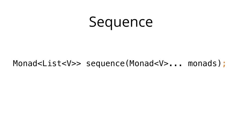 Sequence Monad<List<V>> sequence(Monad<V>... mo...