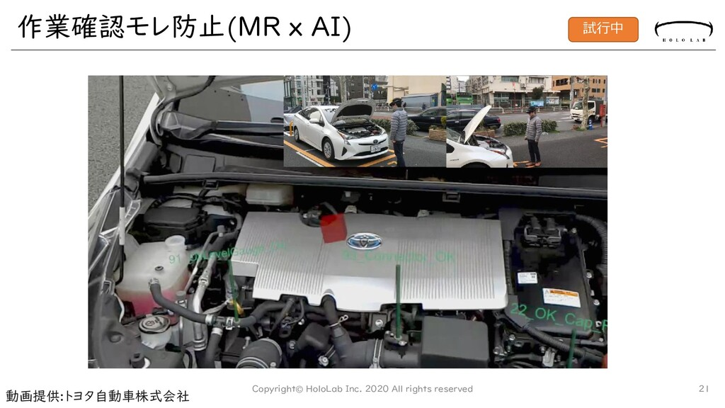 作業確認モレ防止(MR x AI) Copyright© HoloLab Inc. 2020 ...
