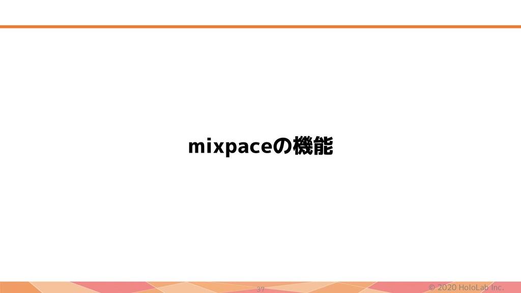 © 2020 HoloLab Inc. 37 mixpaceの機能