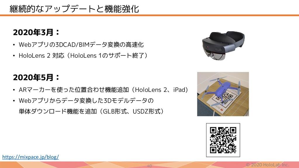 © 2020 HoloLab Inc. 40 継続的なアップデートと機能強化 2020年3月:...