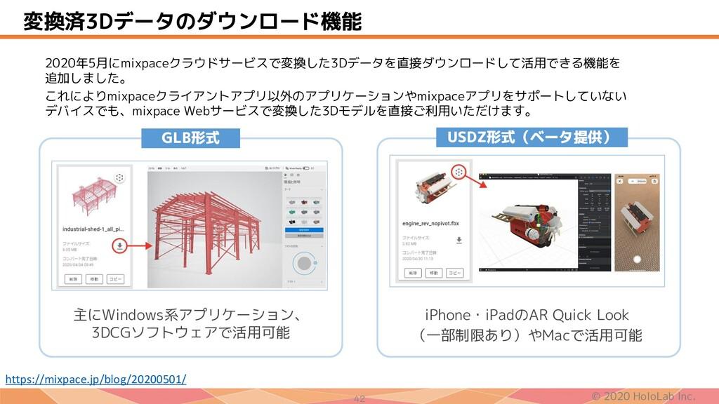 © 2020 HoloLab Inc. 42 変換済3Dデータのダウンロード機能 2020年5...