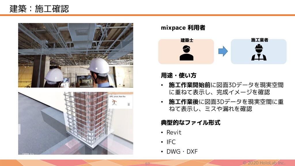 © 2020 HoloLab Inc. 57 建築:施工確認 用途・使い方 • 施工作業開始前...