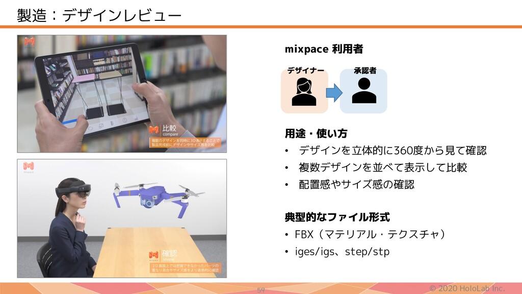 © 2020 HoloLab Inc. 59 製造:デザインレビュー 用途・使い方 • デザイ...