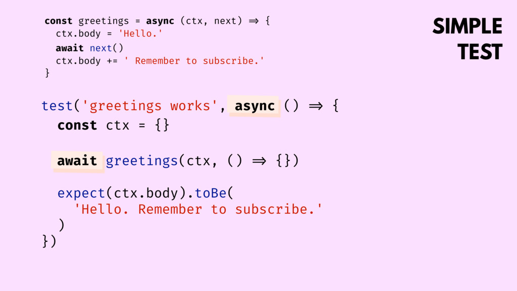 SIMPLE TEST const greetings = async (ctx, next...