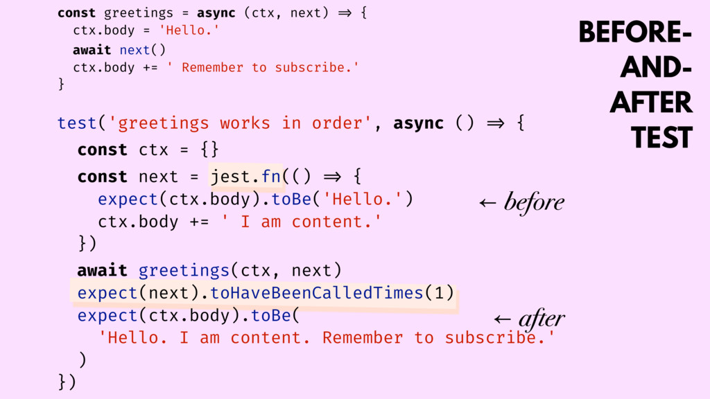 BEFORE- AND- AFTER TEST const greetings = async...