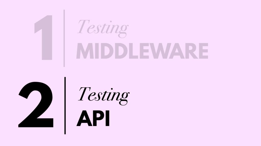 Testing MIDDLEWARE 1 Testing API 2