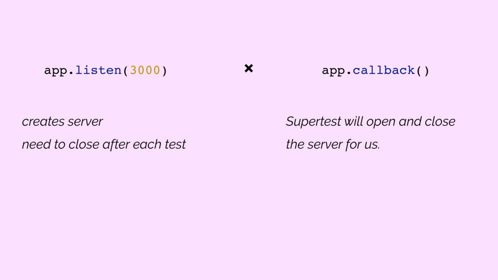 app.listen(3000) app.callback() Supertest will ...