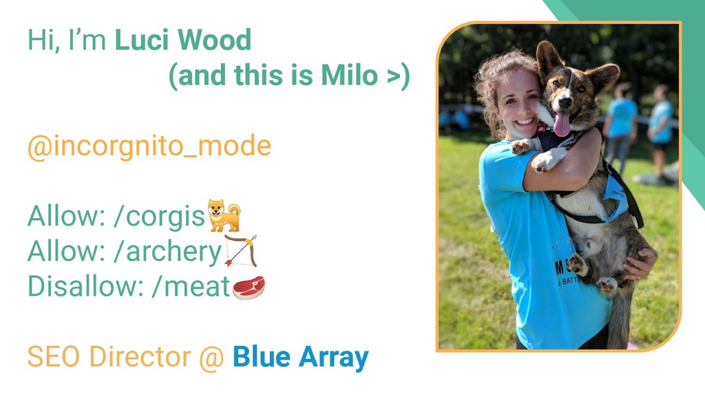 Hi, I'm Luci Wood (and this is Milo >) @incorgn...
