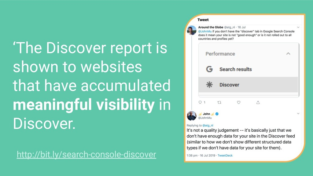 'The Discover report is shown to websites that ...