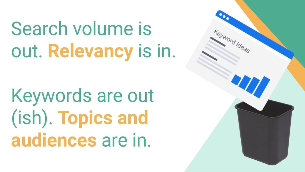 Search volume is out. Relevancy is in. Keywords...