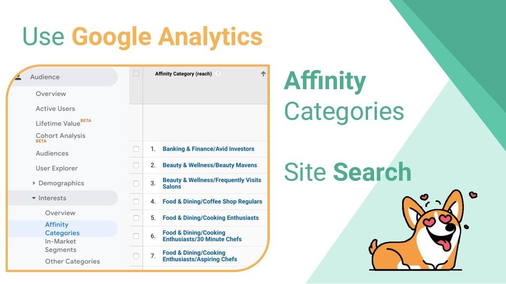 Use Google Analytics Affinity Categories Site Sea...