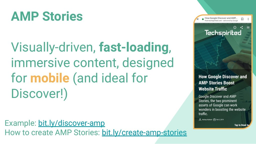 AMP Stories Visually-driven, fast-loading, imme...