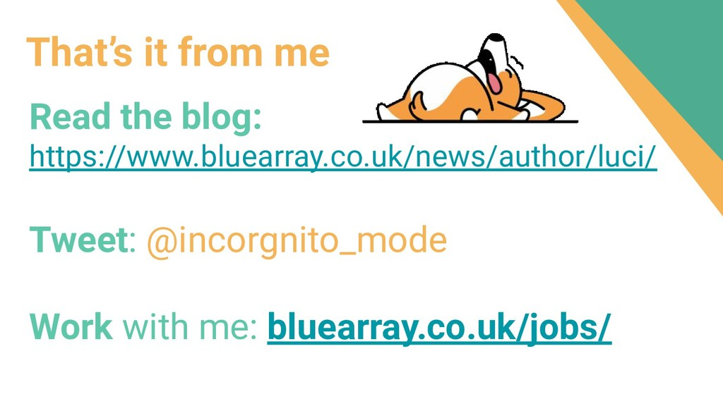 That's it from me Read the blog: https://www.bl...
